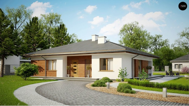 Проект Z321 Стильный одноэтажный дом с комфортной крытой террасой  Проекты домов и гаражей