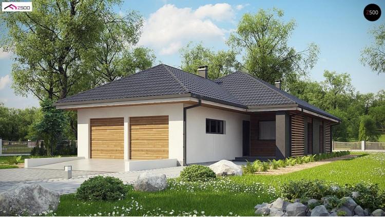 Проект Z327 Одноэтажный дом в современном стиле с двойным гаражом  Проекты домов и гаражей