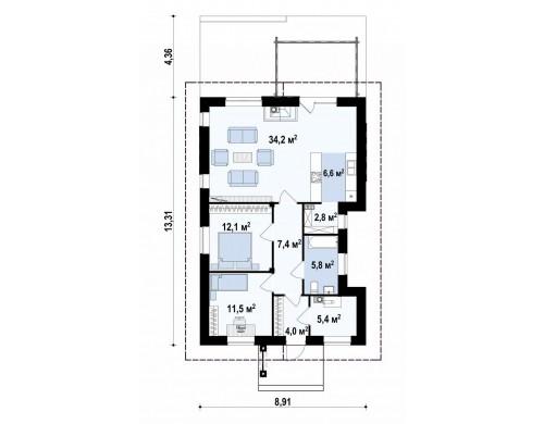 Компактный одноэтажный дом, подходящий и для постоянного проживания, и для сезонного