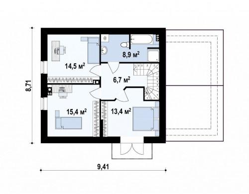 Проект дома с гаражом, с красивым мансардным окном и боковой террасой - Z33