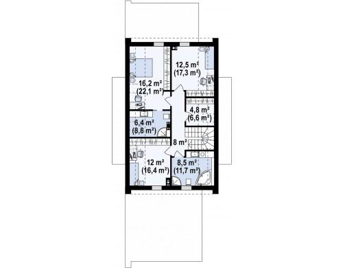 Проект Z330 P Проект удобного и красивого мансардного дома с гаражом на 2 машини и 3 спальнями.  Проекты домов и гаражей