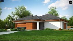 Проект Z333 Проект комфортного одноэтажного дома с гаражом для двух авто.  Проекты домов и гаражей