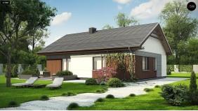Проект Z334 Проект уютного одноэтажного дома с двускатной кровлей.  Проекты домов и гаражей