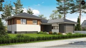 Проект Z335 Стильный дом с мезонином и гаражом для одной машины  Проекты домов и гаражей