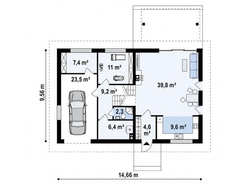 Проект Z338 Аккуратный дом с подвалом и тренажерным залом.  Проекты домов и гаражей