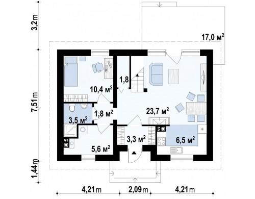 Проект дома для небольшого участка, простой в строительстве, дешевый в эксплуатации - Z34