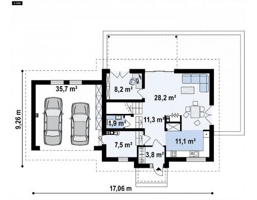Проект Z345 Аккуратный мансардный дом с гаражом для двух автомобилей  Проекты домов и гаражей