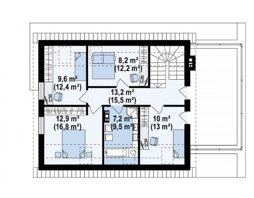 Проект Z347 Проект комфортного дома в современном европейском стиле.  Проекты домов и гаражей