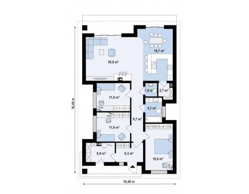 Проект Z348 Проект красивого одноэтажного дома с 3 спальнями  Проекты домов и гаражей