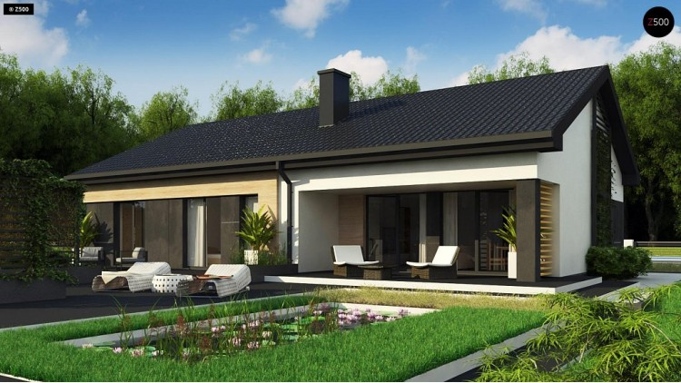 Проект Z349 Стильный одноэтажный дом с двускатной кровлей и грамотной планировкой  Проекты домов и гаражей