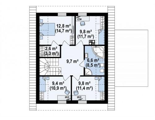Проект Z350 Стильный мансардный дом с гаражом на две машины  Проекты домов и гаражей