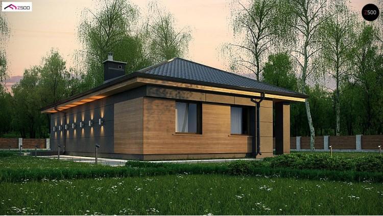 Проект Z356 Одноэтажный дом с четырехскатной кровлей и оригинальным экстерьером.  Проекты домов и гаражей