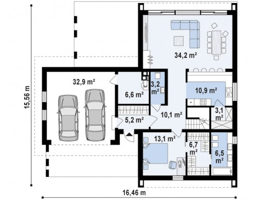 Проект Z357 Современный мансардный дом с гаражом на две машины  Проекты домов и гаражей