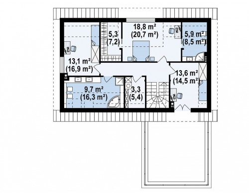 Проект Z358 Cтильный мансардный дом с гаражом для двух машин  Проекты домов и гаражей