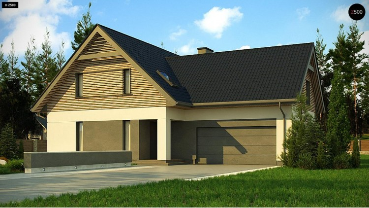 Проект Z359 Стильный и аккуратный мансардный дом с гаражом для двух машин.  Проекты домов и гаражей