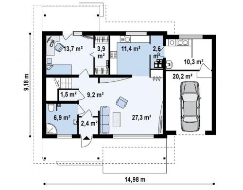 Проект дома со входом с южной стороны, с большой террасой на втором этаже - Z36