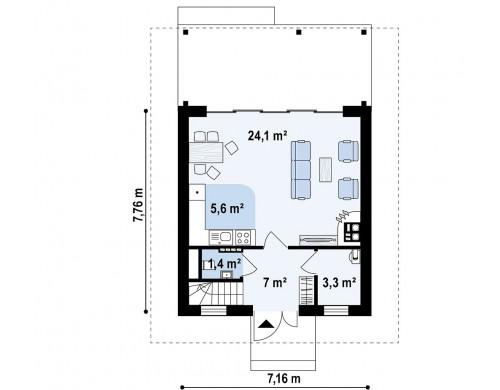 Проект Z362 Небольшой мансардный дом с верандой, подойдет для строительства на узком участке.  Проекты домов и гаражей