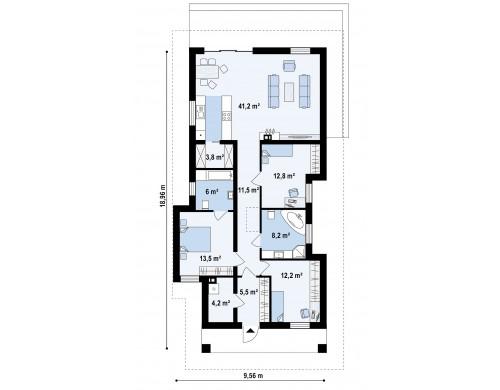 Проект Z363 Проект уютного одноэтажного дома с 3 спальнями  Проекты домов и гаражей