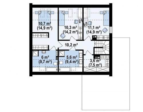 Проект Z364 Проект дома с мансардой, террасой на первом этаже и гаражом на одну машину.  Проекты домов и гаражей