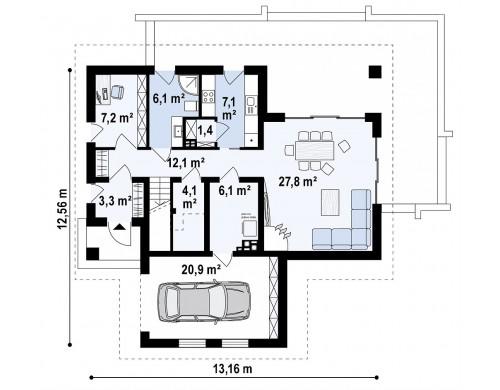 Проект Z365 Современный жилой дом с гаражом  Проекты домов и гаражей