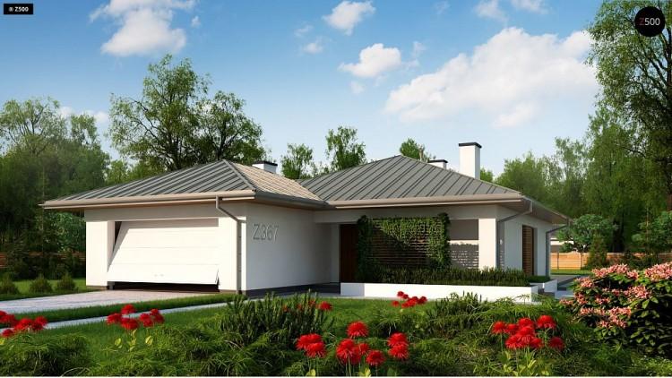 Проект Z367 Одноэтажный дом с гаражом на две машины  Проекты домов и гаражей