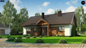 Проект Z369 D Аккуратный одноэтажный дом с деревянной отделкой на фасадах.  Проекты домов и гаражей
