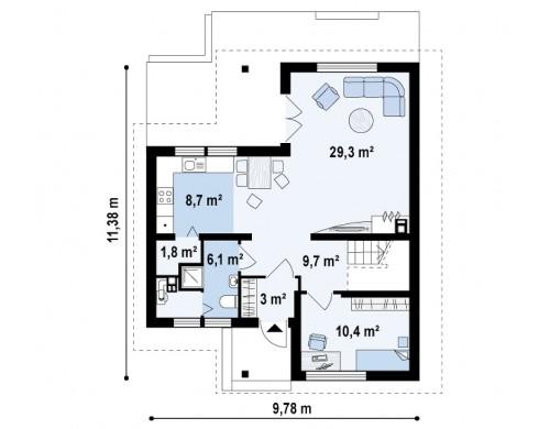 Проект дома для узкого участка с дополнительной спальней на первом этаже и кухней со стороны сада - Z37