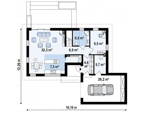 Проект Z370 Проект мансардного коттеджа с функциональной планировкой помещений и гаражом для одной машины.  Проекты домов и гаражей