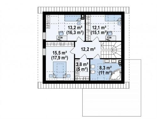 Проект Z371 Мансардный дом с гаражом, расположенным с фронтальной стороны фасада  Проекты домов и гаражей