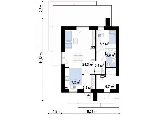 Проект Z372 Компактный двухэтажный дом для узких участков.  Проекты домов и гаражей