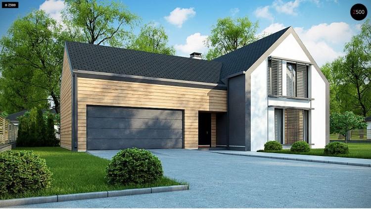 Проект Z373 Мансардный дом с двускатной кровлей и гаражом на 2 машины  Проекты домов и гаражей