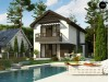 Проект Z374 Проект двухэтажного дома в современном стиле, подойдет для строительства на узком участке.  Проекты домов и гаражей