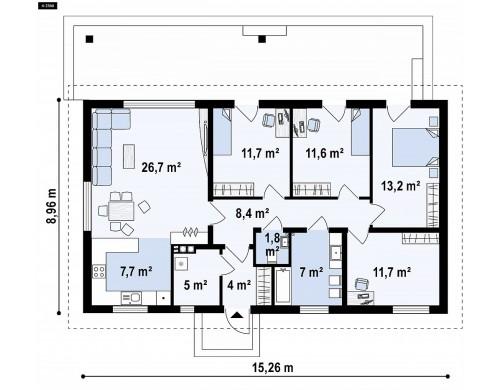 Проект Z376 35 Проект одноэтажного дома с 4 спальнями и двускатной кровлей  Проекты домов и гаражей