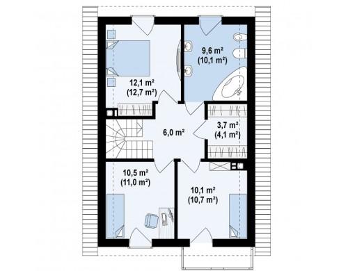 Проект простого и удобного дома для узкого участка с высокой аттиковой стеной - Z38