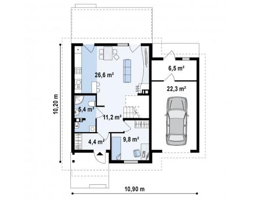 Проект Z38 D L GP Зеркальное отображение проекта Z38 с гаражом с правой стороны.  Проекты домов и гаражей