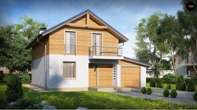 Проект Z38 D GP Проект двухэтажного дома с гаражом справа и с деревом на фасадах  Проекты домов и гаражей