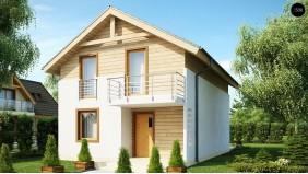 Проект Z38 dk Проект компактного аккуратного дома с мансардным этажом, адаптированный для каркасного строительства.  Проекты домов и гаражей