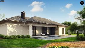 Проект Z380 Прекрасный одноэтажный дом в современном стиле и гаражом на одну машину.  Проекты домов и гаражей