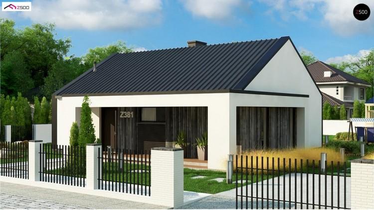 Проект Z381 Компактный одноэтажный дом с двускатной крышей и 3 спальнями  Проекты домов и гаражей