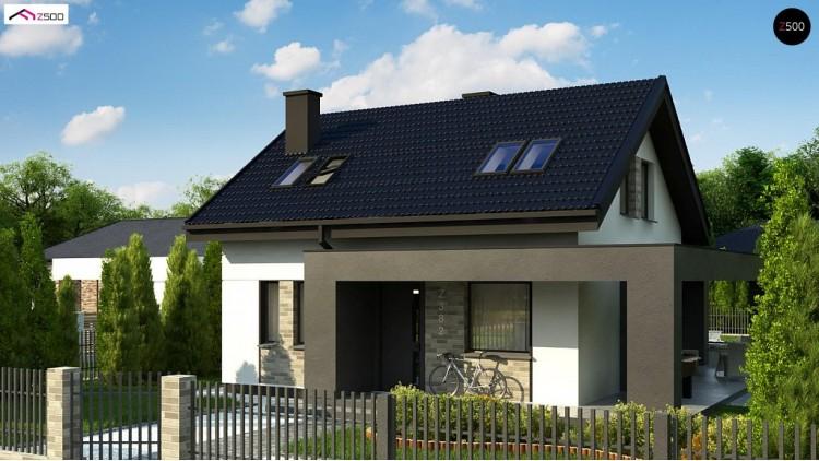 Проект Z382 Компактный проект мансардного дома с двускатной кровлей и тремя спальнями  Проекты домов и гаражей
