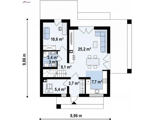 Проект Z385 Проект мансардного дачного дома с комнатой на первом этаже  Проекты домов и гаражей