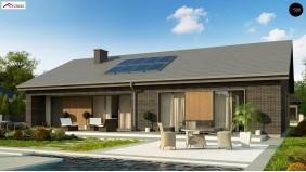 Проект Z387 Одноэтажный дом с 4 спальнями, гаражом и 2-х скатной крышей  Проекты домов и гаражей