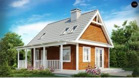 Проект Z39 Маленький, уютный дом с мансардой, двускатной крышей и c фронтальной террасой.  Проекты домов и гаражей