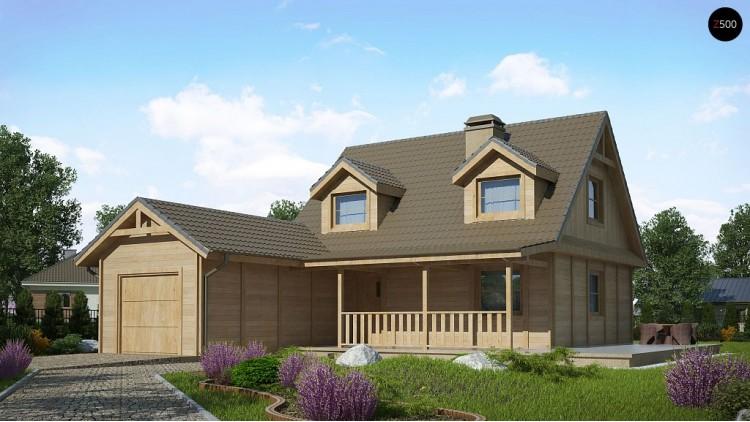 Проект Z39 B GF lk Вариант проекта Z39 c деревянными фасадами и гаражом расположенным с левой стороны.  Проекты домов и гаражей