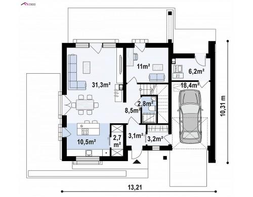 Проект Z391 Проект двухэтажного дома с открытой дневной зоной и современным экстерьером.  Проекты домов и гаражей