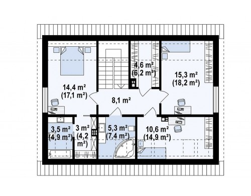 Проект Z394 Комфортный проект мансардного дома с панорамным остеклением в гостинной  Проекты домов и гаражей