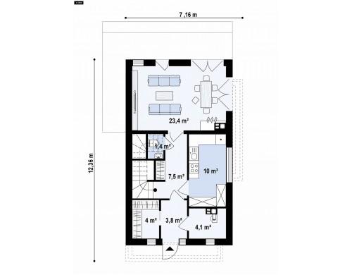 Проект Z397 Проект двухэтажного дома в стиле кубизм, подходит для строительства на узком участке.  Проекты домов и гаражей