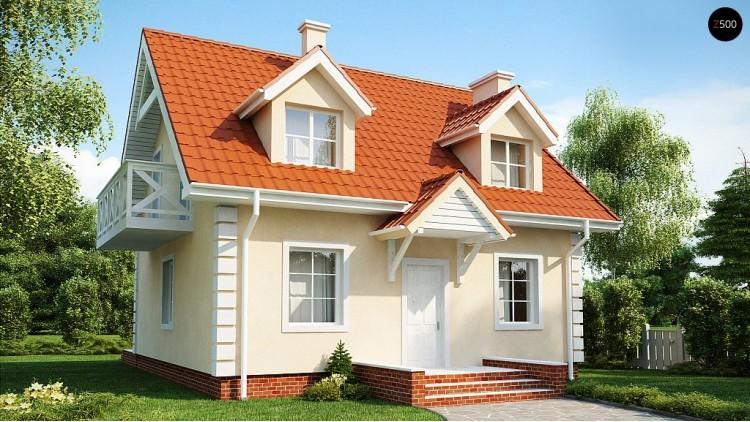 Проект компактного дом в традиционном стиле с двускатной крышей и красивыми мансардными окнами - Z4