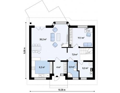 Проект выгодного и простого в строительстве дома с эркером в дневной зоне - Z40