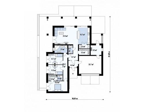 Проект Z400 Проект стильного одноэтажного дома в традиционном стиле  Проекты домов и гаражей